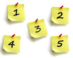 5 numbered post-it notes