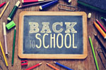 Back to School written on a mini blackboard