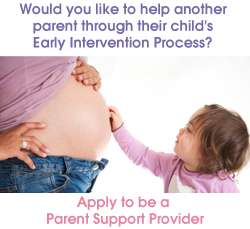 Would you like to help another parent through their child's Early Intervention process? Apply to be an Experienced Parent Support Provider