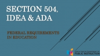 Section 504,IDEA & ADA: Federal Requirements in Education cover page